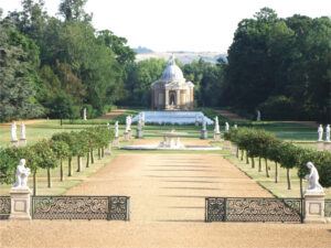 A view from the south terrace of the house looking over the restored landscape at Wrest Park